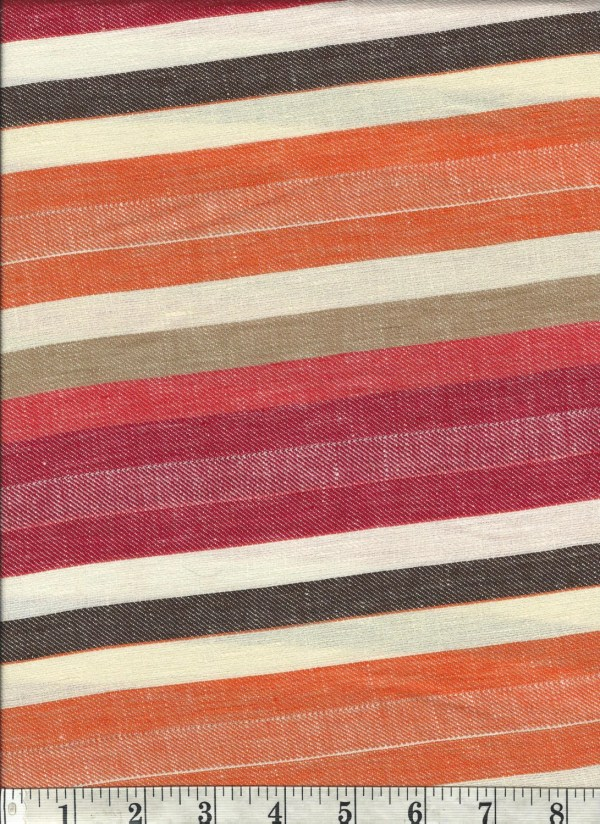 Red and White Striped Linen Fabric