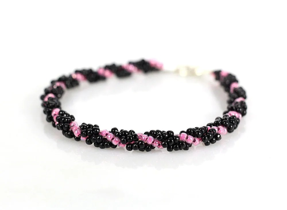 Cotton candy & black spiral rope bracelet