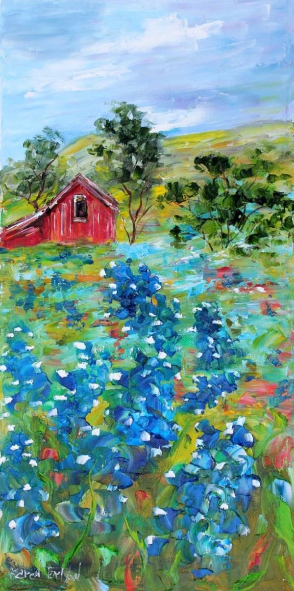 original oil painting texas bluebonnet