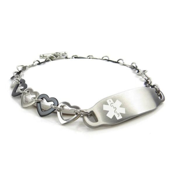Custom Engraved FREE Medical Bracelet Black Silver Hearts
