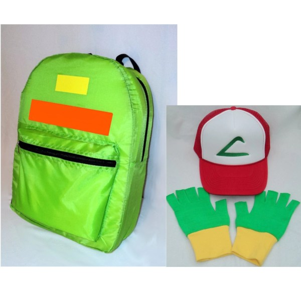 Pokemon Ash Accessory Set Backpack Hat And Gloves Halloween