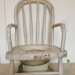 Wooden Potty Chair Canvas Directors Vintage Wood With Enamel Chamber Pot