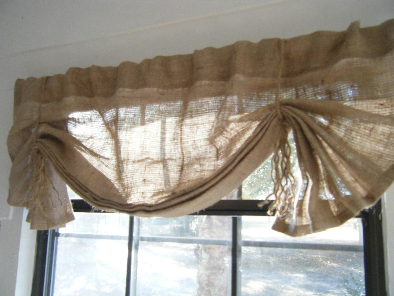 Burlap Window Valance 24 108 W X 14l