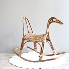 Vintage Wicker Rocking Chair Skull Meme Horse