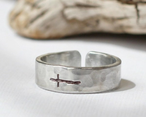 Sideways Cross Ring Silver Hammered Band