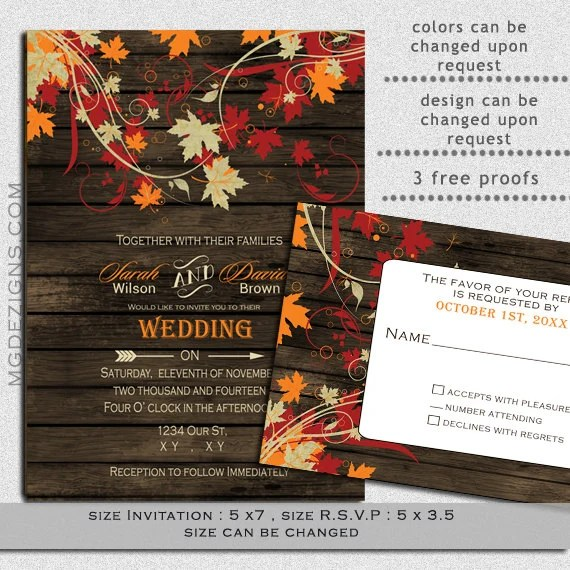 PRINTABLE Wedding Invitation Template Fall Wedding by MGDezigns