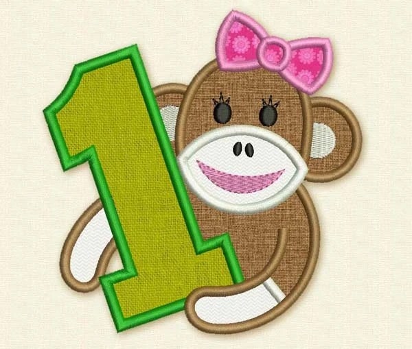 Sock Monkey Girl Happy Birthday Number 1 Applique Embroidery