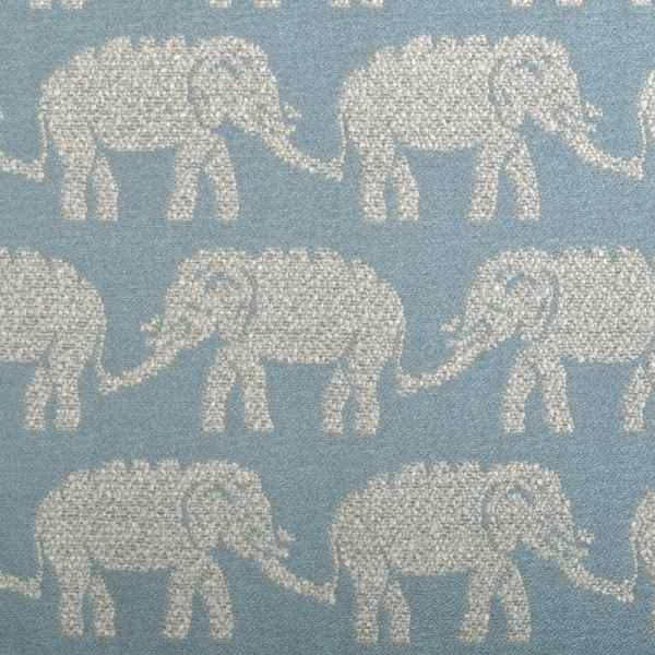 Elephant Upholstery Fabric Light Blue Animal Woven