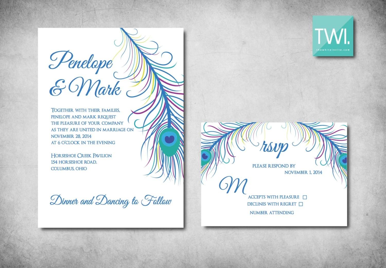 Wedding Invitation Rsvp Date: Peacock Wedding Invitation Set