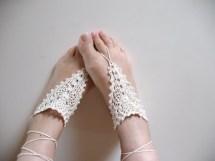 Crochet Barefoot Sandals Anklet Toe Ring Beach