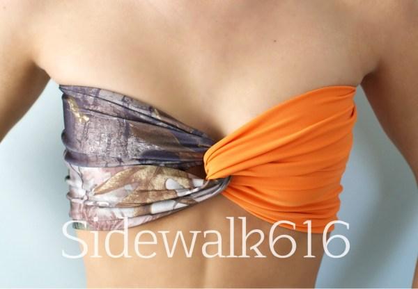 Camo And Hunter Orange Bandeau Top Spandex Bikini