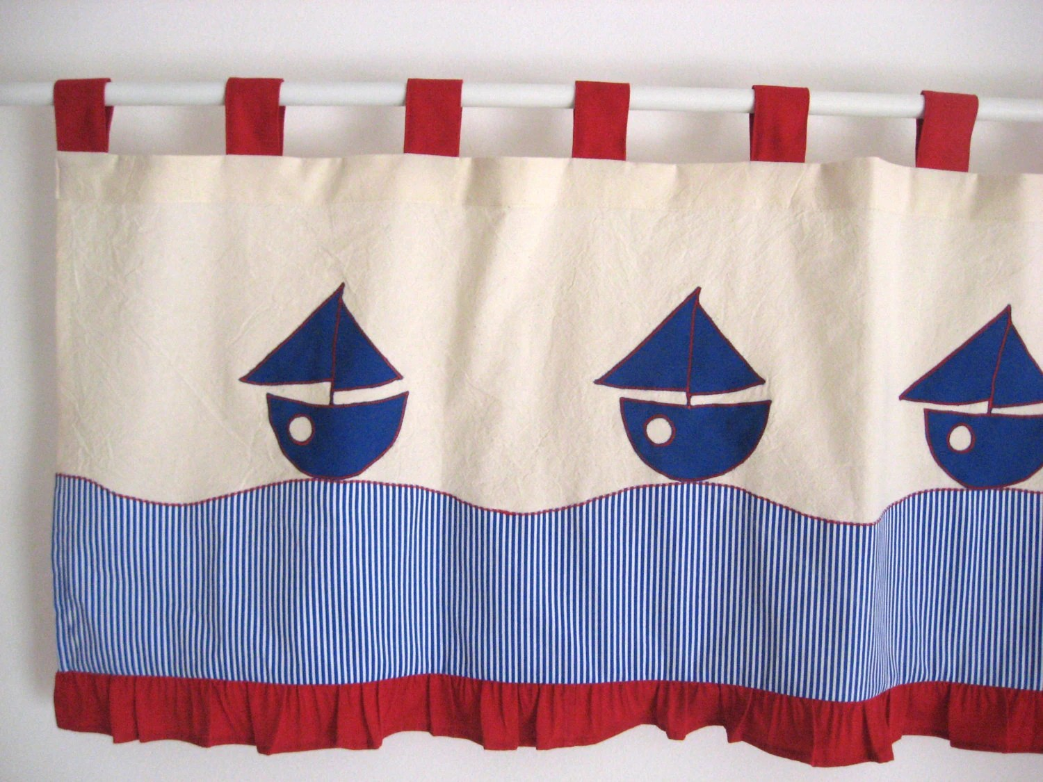 Nautical Valance Sailboat Navy Blue Red Window Treatment Kids