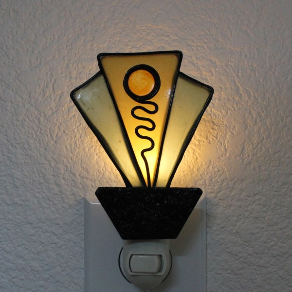Art Deco Faux Stained Glass Night Light Polymer Clay With Led