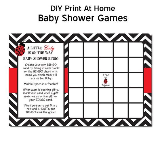 Chevron Ladybug Baby Shower Game Bingo in Red DIY PRINTABLE
