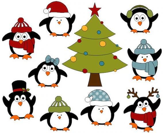 christmas penguins digital clip