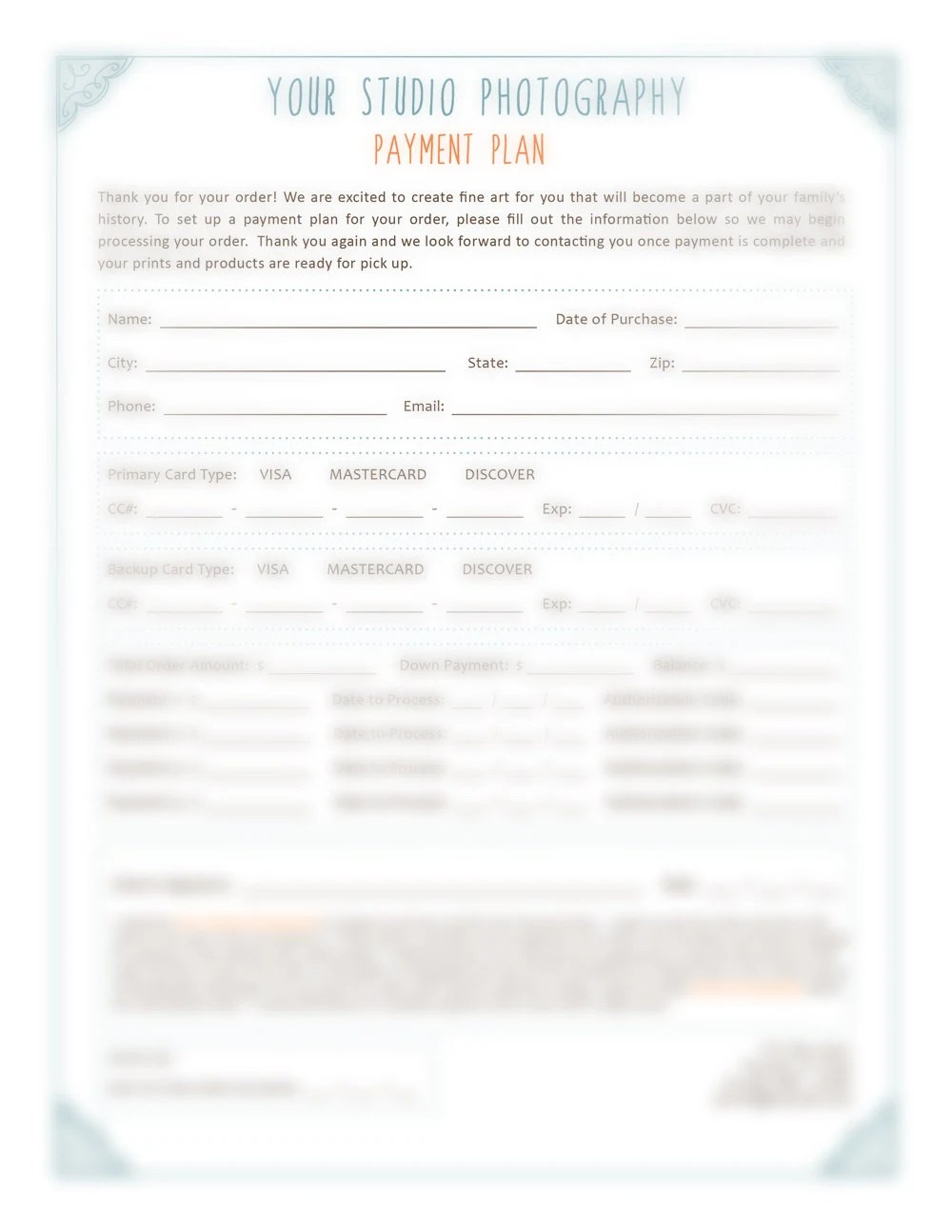 Sports Photography Order Form Template Photoshop by