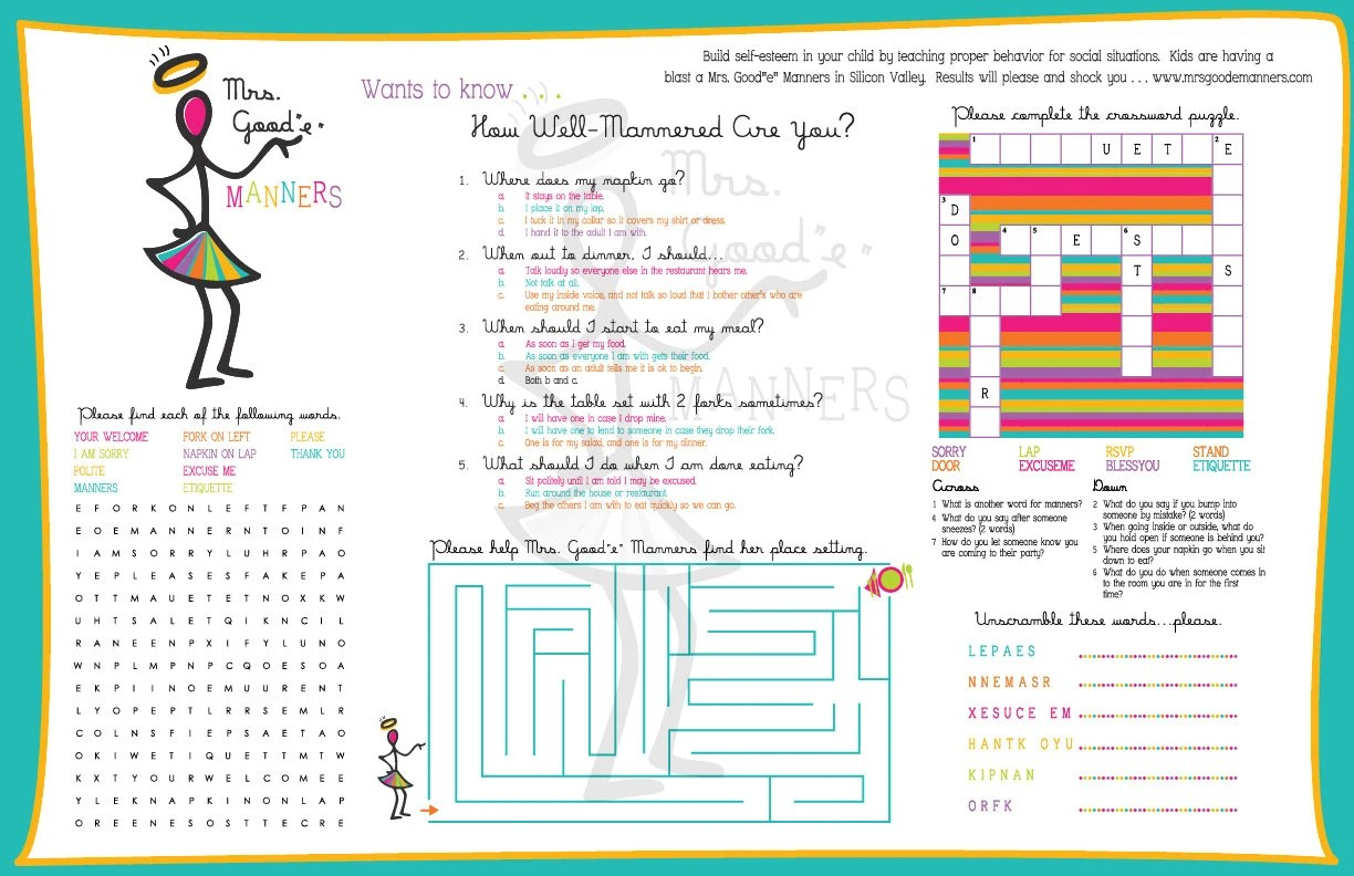 Printable Activity Placemats For Children Manners Learning