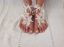Boho Chick Lace Wedding Barefoot Sandals.bride