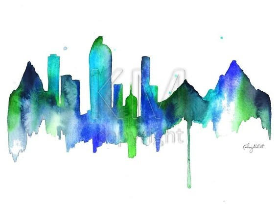 Denver Skyline print of original watercolor painting scenic