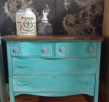 Chalk Paint Furniture Turquoise Blue Vintage Antique Dresser