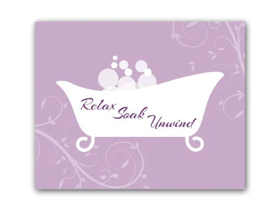 Bathroom Wall Art Purple Bathroom Decor Relax Soak Unwind