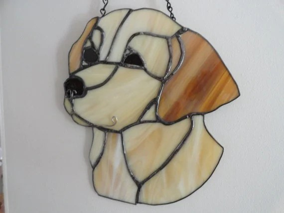 Items Similar To Handmade Stained Glass Yellow Lab