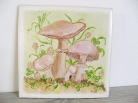 Ceramic Tile Mushrooms Semigres Italy No 82 Signed by Jean