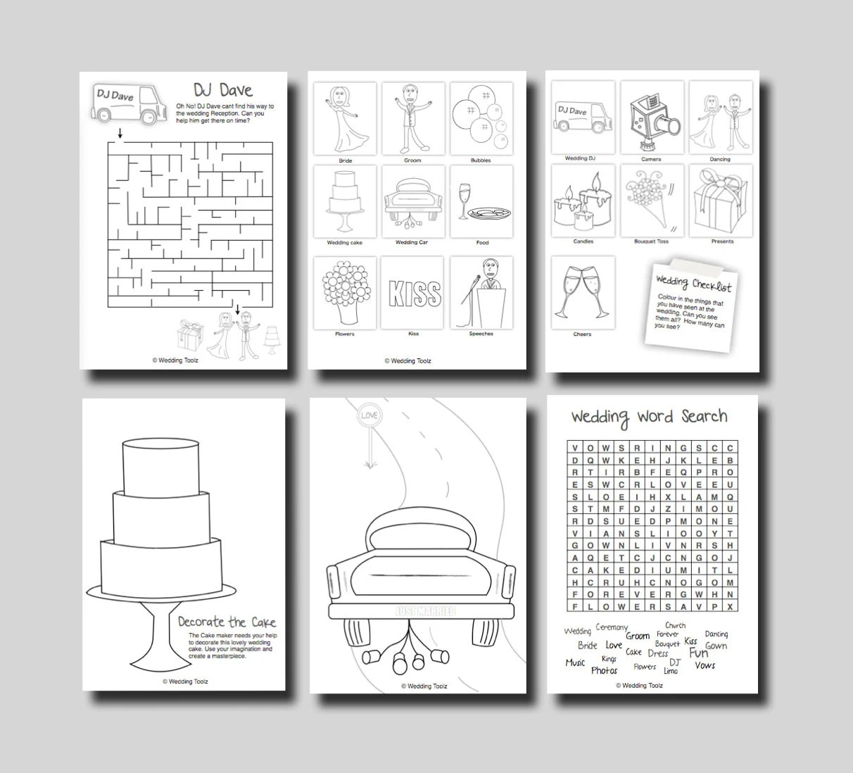 Kids Wedding Activity Book Mint Cover Print By Weddingtoolzstore