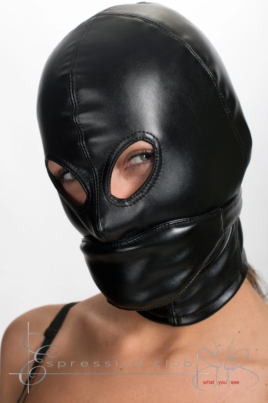 Leather hood mask with soft blindfold and mouth by EspressivoClub