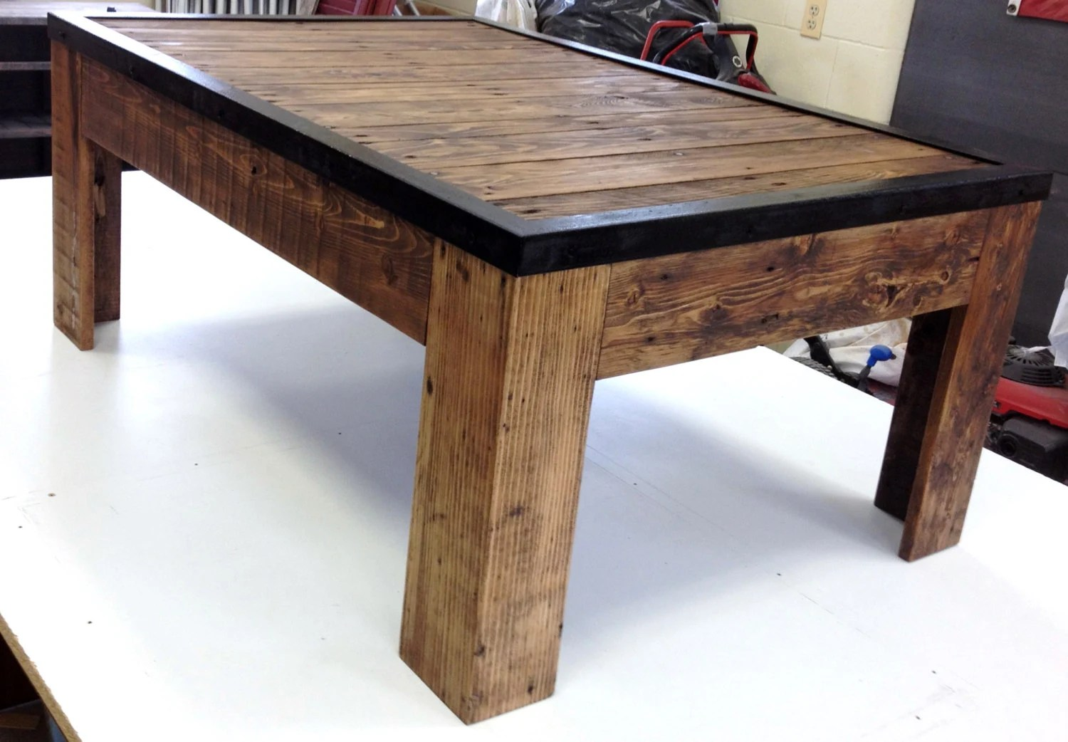 Rustic Reclaimed Wood And Metal Coffee Table By