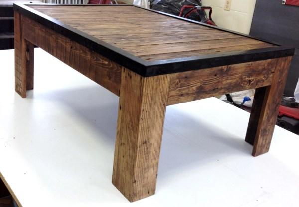 Rustic Metal and Reclaimed Wood Coffee Table