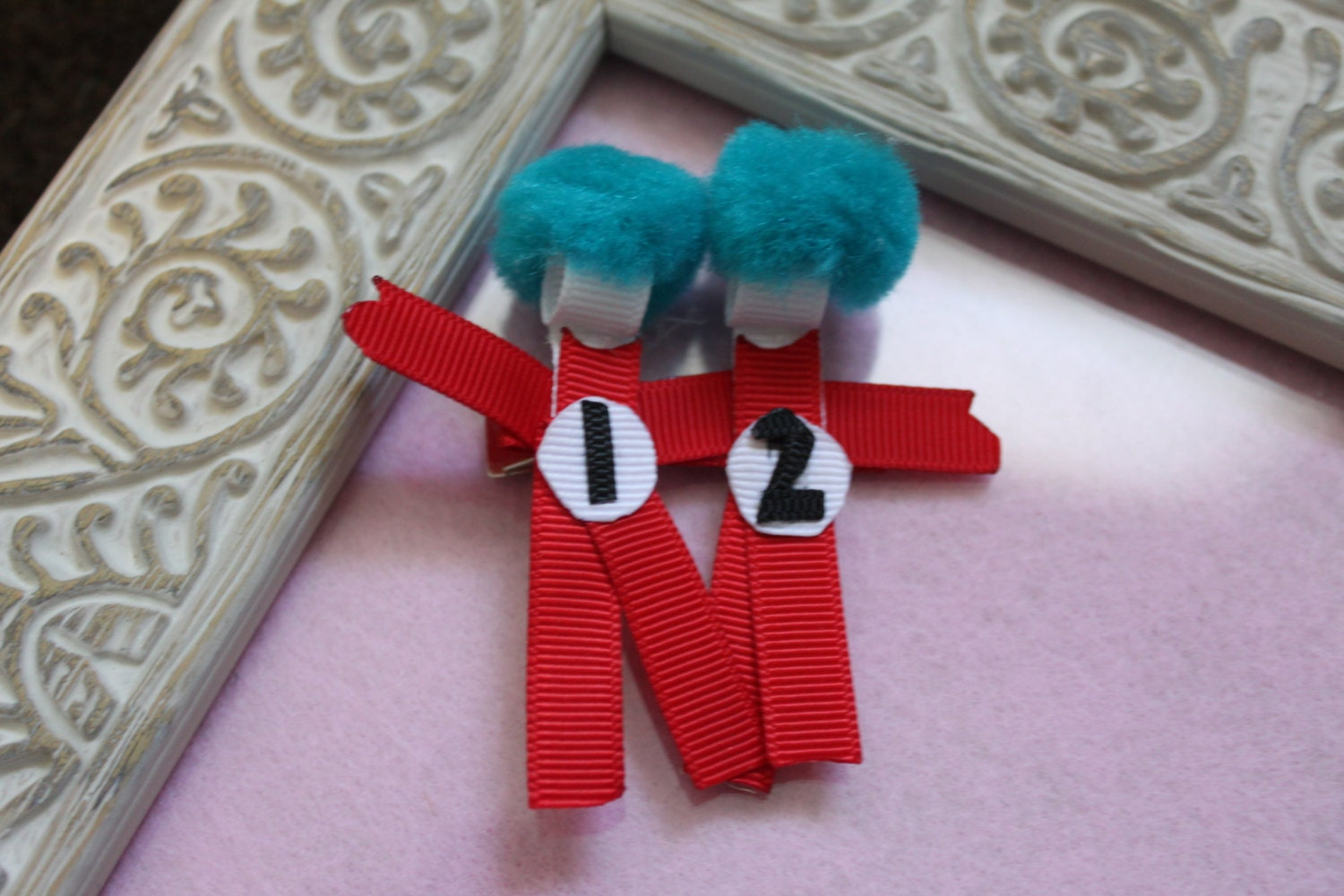 Thing 1 And Thing 2 Ribbon Sculpture Hair Clip By