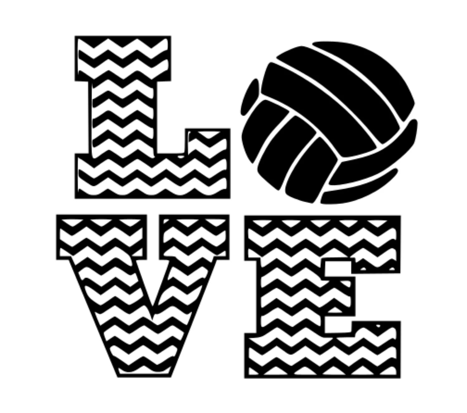 Chevron Volleyball Love G Dxf Cutting File Vinyl Or