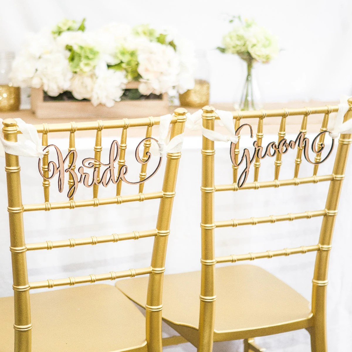 wedding bride and groom chairs bedroom chair bed signs for