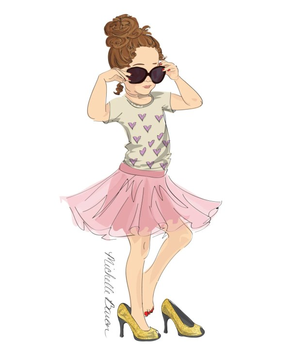 Children' Fashion Illustration Print With Little Girl