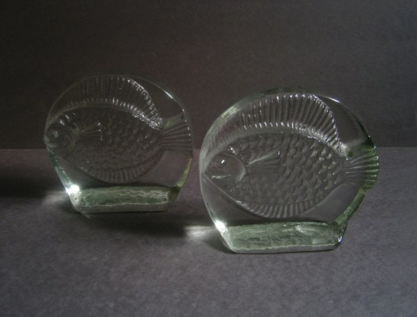 Vintage Blenko Glass Fish Bookends Mid Century Modern Set Of 2
