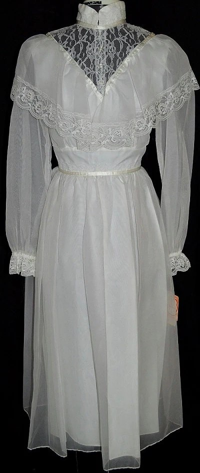 Vintage 1970s Peasant style Lace and Ruffles Wedding Dress