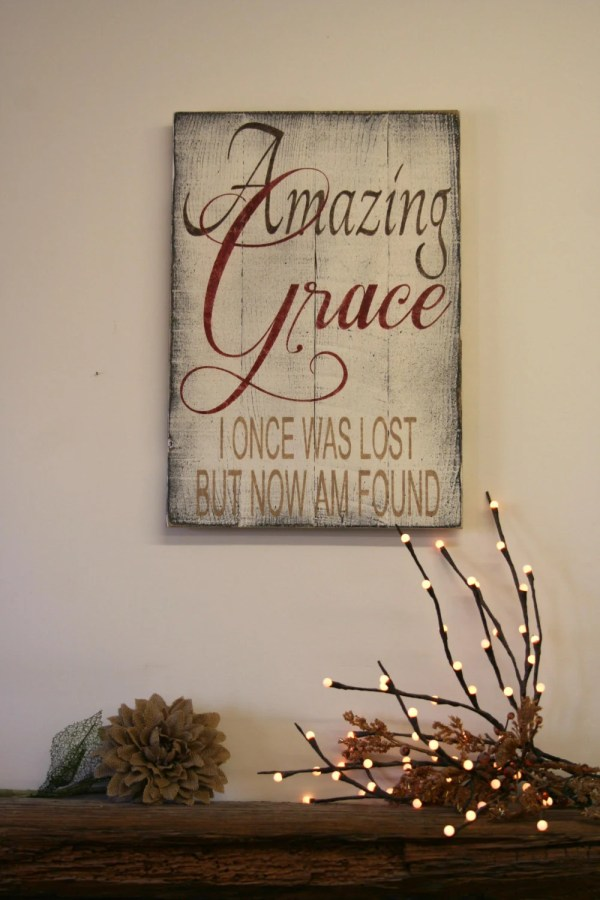 Amazing Grace Distressed Wood Sign Pallet