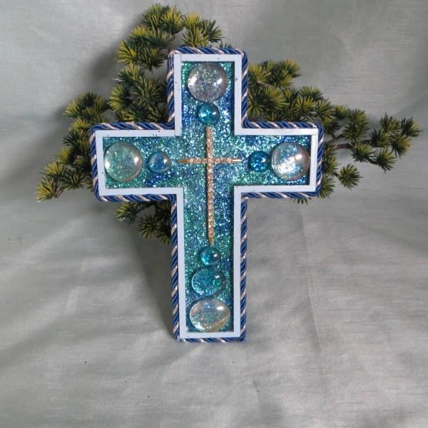 Decorative Blue Wall Cross Rhinestone