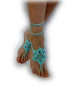 Aqua Crochet Barefoot Sandals Blue Foot Jewelry