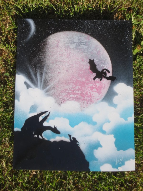 Dragons And Clouds Fantasy Spray Paint Art Original. Full
