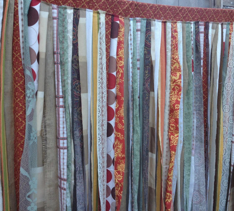 Rustic Shower Curtain Burlap Tattered Woodland Prairie Fabric