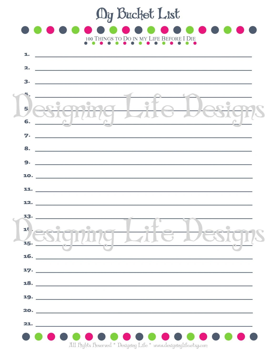 Bucket List Printable With Worksheet Make A Plan By