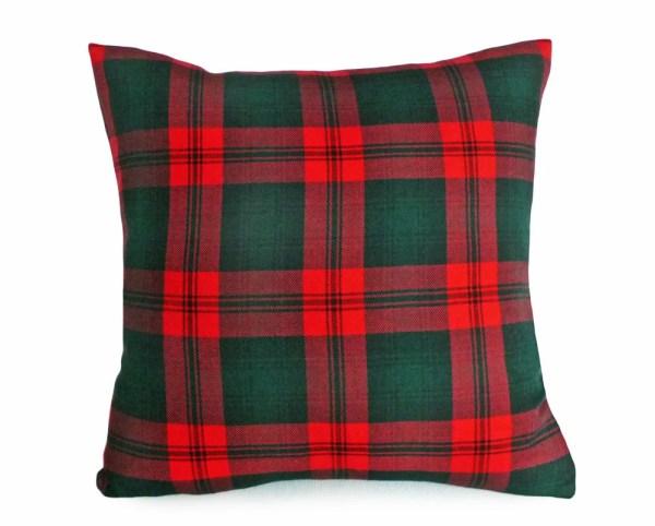 Tartan Christmas Pillow Covers Wool Red Green