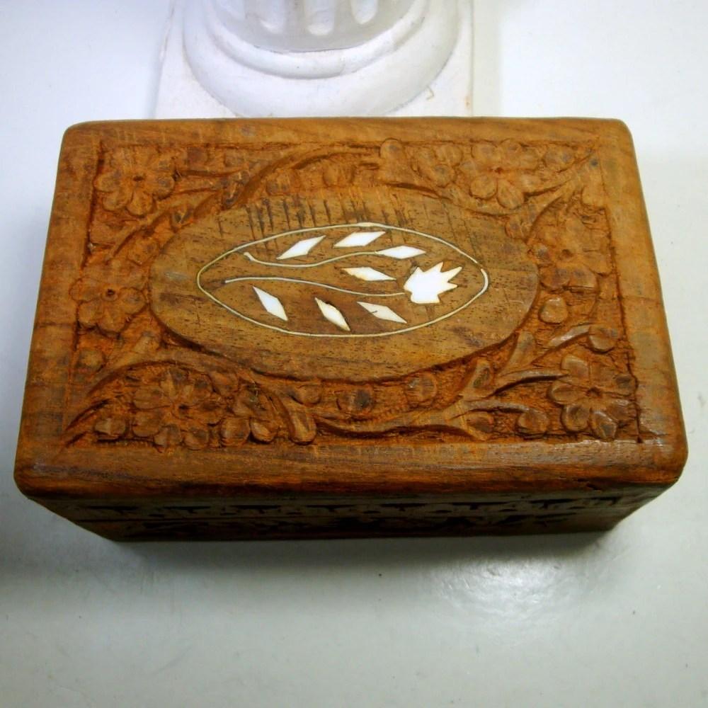 Vintage Carved Wood Stash Box1970s FUNKY By