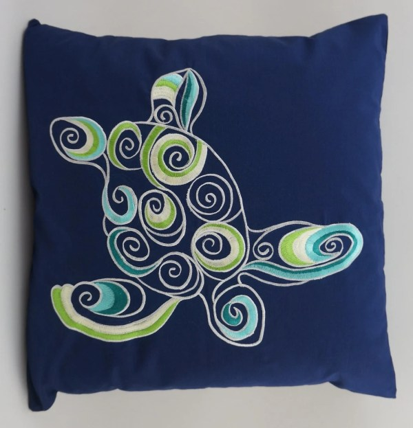 Turtle Pillow Cover Embroidery Nautical Beach Decor