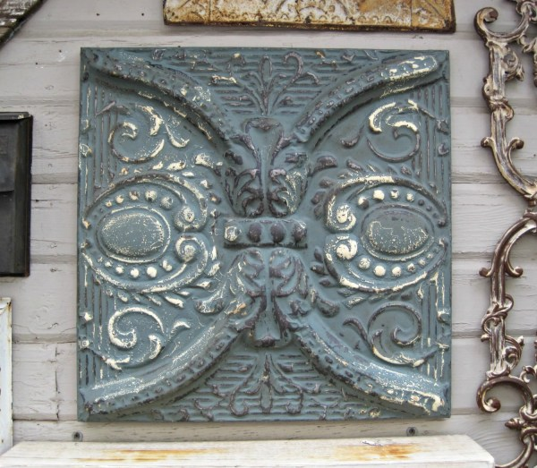 Antique Ceiling Tin Tile. Circa 1910. Framed