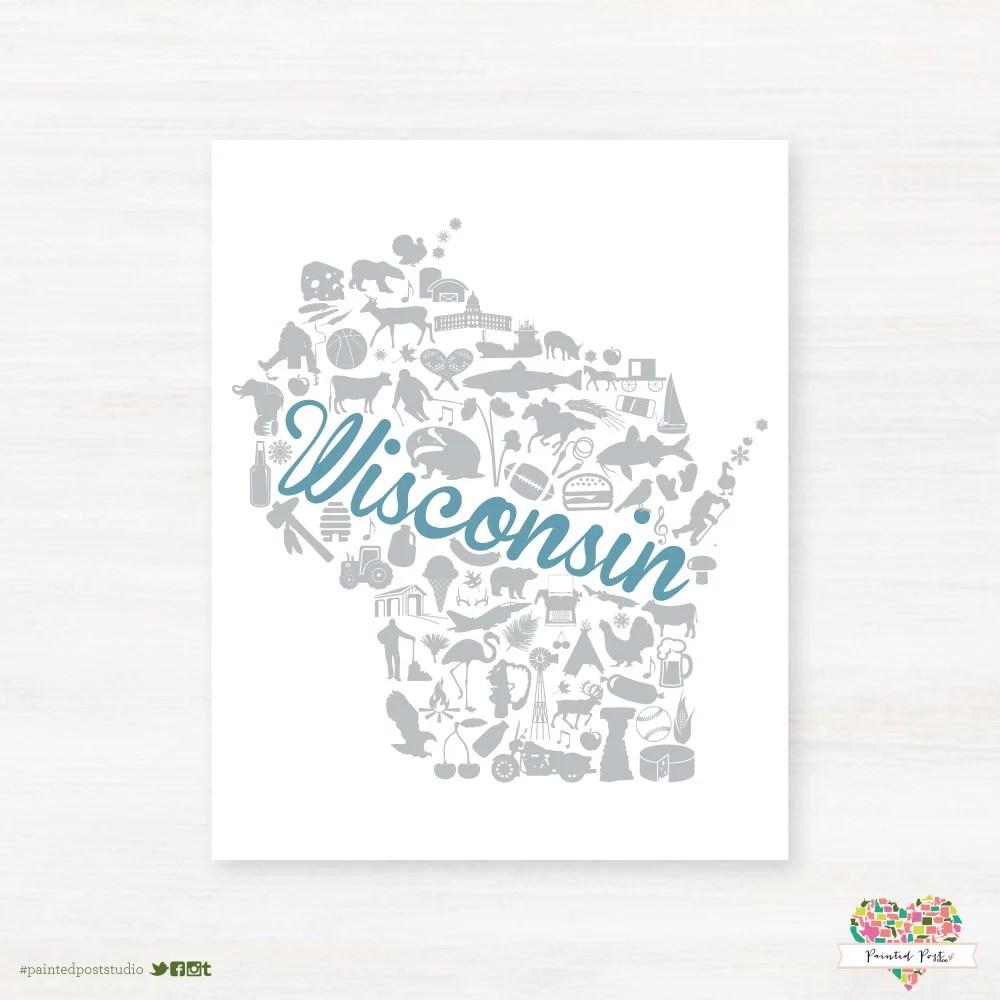 Items similar to Wisconsin Landmark Custom State Map Art