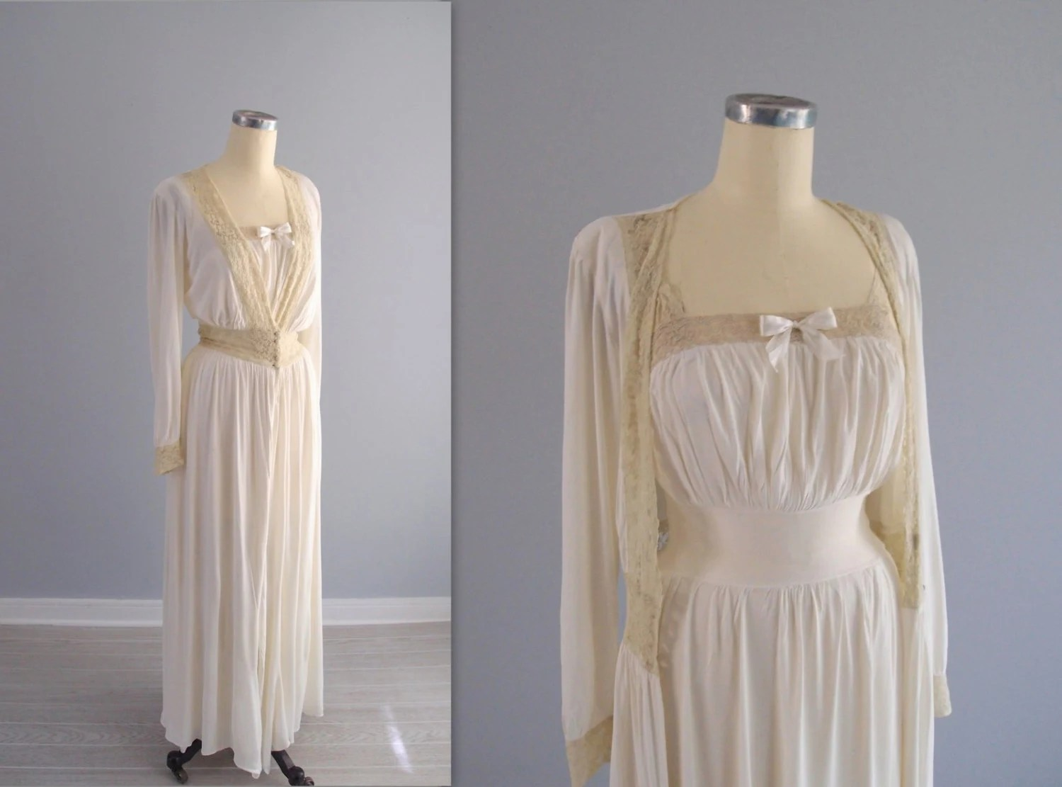 1940's Peignoir Set ... Old Hollywood Dressing Gown / Robe