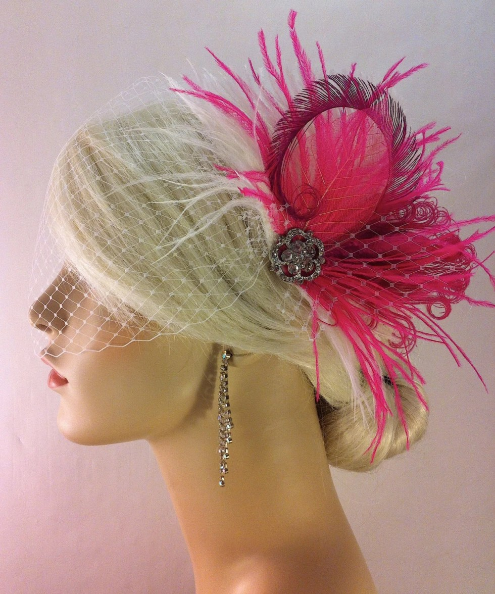 New Rock On  - Bridal Feather Fascinator, Hot Pink and White, Wedding Veil, Wedding Fascinator, Feather Fascinator